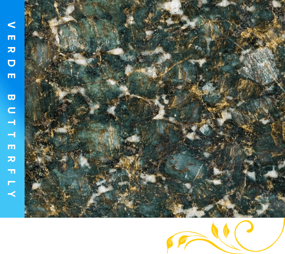Verde Butterfly Granite Counter Top Cabinet Outlet